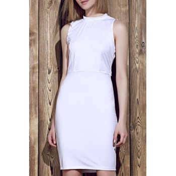 Elegant Sleeveless Solid Color Back Hollow Out Bodycon Dress For Women - WHITE ONE SIZE(FIT SIZE XS TO M)