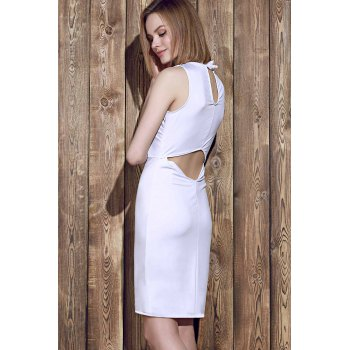 Elegant Sleeveless Solid Color Back Hollow Out Bodycon Dress For Women - ONE SIZE(FIT SIZE XS TO M) ONE SIZE(FIT SIZE XS TO M)