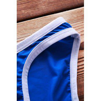 Sexy Color Block U Convex Pouch Design Men's Bikini Swimming Trunks - BLUE BLUE
