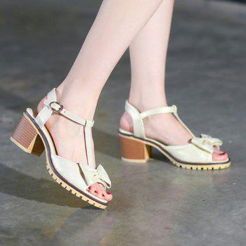 Bowknot Embellished T-Strap Sandals - OFF WHITE 39