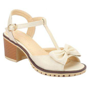Sweet T-Strap and Bow Design Women's Sandals