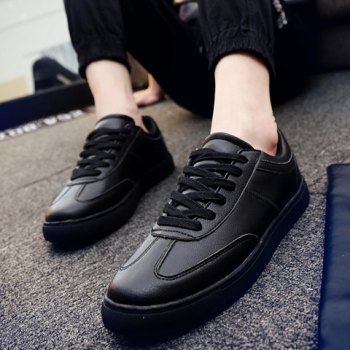 Concise Stitching and Lace-Up Design Men's Casual Shoes - BLACK 44