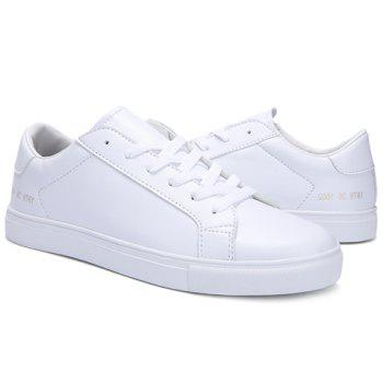 Stylish Lace-Up and Figure Print Design Men's Casual Shoes - WHITE 42