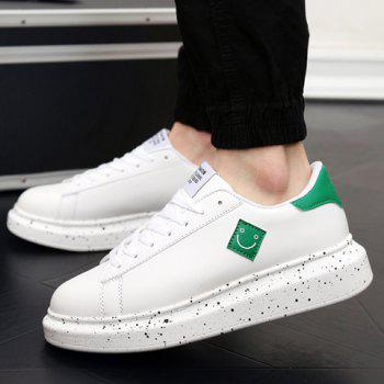 Fashionable Color Block and Smiling Face Design Men's Casual Shoes - WHITE/GREEN 43