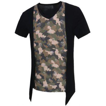 Camo Printed Short Sleeves Faux Twinset Men's T-Shirt