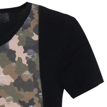 Camo Printed Short Sleeves Faux Twinset Men's T-Shirt - KHAKI 2XL