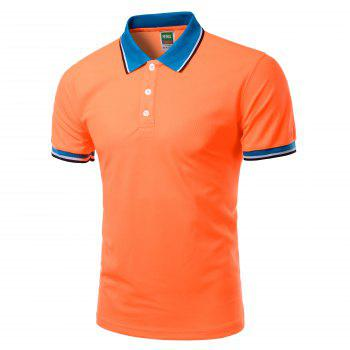 Turn-Down Collar Color Block Splicing Design Short Sleeve Men's Polo T-Shirt