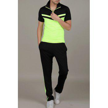 Color Block Spliced Turn-Down Collar Quick-Dry Short Sleeve Men's T-Shirt Suit (T-Shirt + Pants )