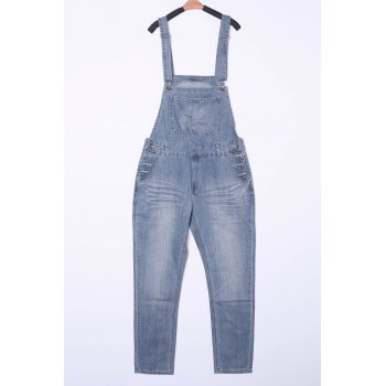 Plus Size Cat's Whisker Pocket Design Straight Leg Zipper Fly Men's Denim Overalls