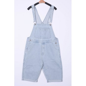 Laconic Loose Fit Straight Leg Patch Pocket Bleach Wash Men's Denim Overalls Shorts