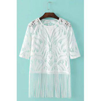 Stylish Women's Jewel Neck Half Sleeves Lace See-Through Top