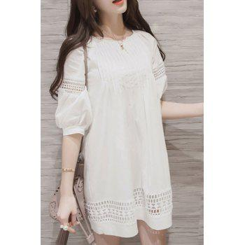 Refreshing Round Collar Half Sleeves Hollow Out Pure Color Women's Dress