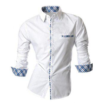 Hot Sale Turn Down Collar Single Breasted Splicing Plaid Shirt For Men