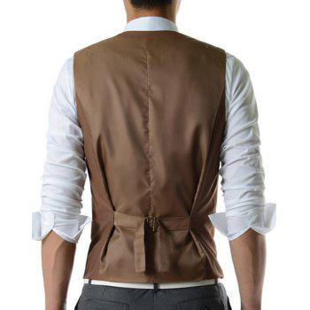 Single Breasted Solid Color Men's Waistcoat With Chain - KHAKI L