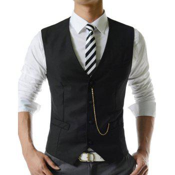 Single Breasted Solid Color Men's Waistcoat With Chain