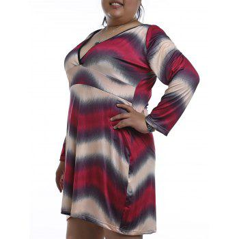 Chic Plunging Neck Long Sleeve Plus Size Zigzag Stripe Women's Nightdress - RED 2XL