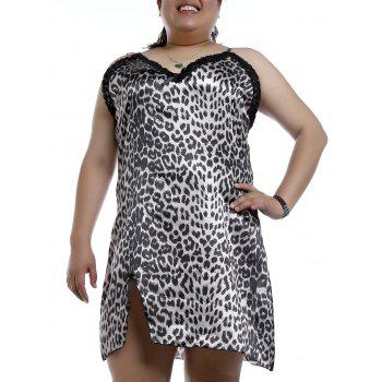 Elegant Spaghetti Strap Sleeveless Plus Size Leopard Print Women's Nightdress