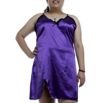 Graceful Spaghetti Strap Sleeveless Plus Size Purple Women's Loose Nightdress