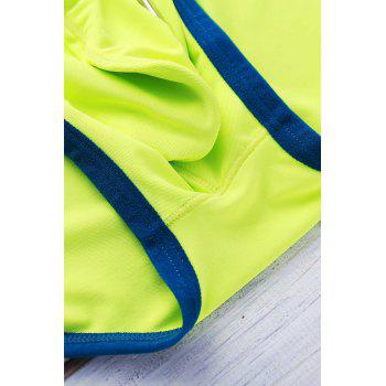 Letter Printed Color Block Sexy Men's Swimming Trunks - NEON GREEN NEON GREEN