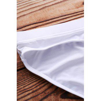 Letter Printed Solid Color Sexy Men's Swimming Trunks - WHITE WHITE