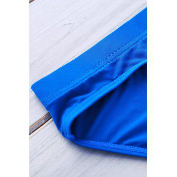 Letter Printed Solid Color Sexy Men's Swimming Trunks - AZURE AZURE