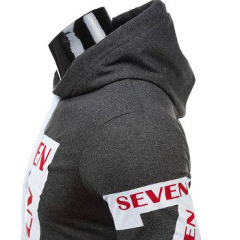 Personality Hooded Drawstring Star Letters Number Pattern Long Sleeves Hoodie For Men - GRAY L