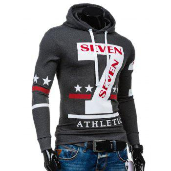 Personality Hooded Drawstring Star Letters Number Pattern Long Sleeves Hoodie For Men - GRAY XL