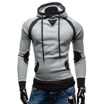 Youth Simple Double Color Splicing Drawstring Hooded Long Sleeves Men's Hoodie