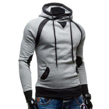 Youth Simple Double Color Splicing Drawstring Hooded Long Sleeves Men's Hoodie - LIGHT GRAY 2XL
