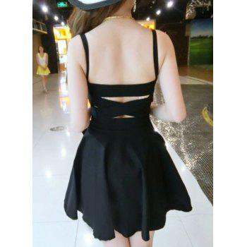 Chic Spaghetti Strap Bowknot Design Hollow Out Criss-Cross Women's Dress - BLACK ONE SIZE(FIT SIZE XS TO M)