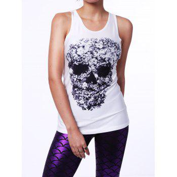 Stylish Simple Sleeveless Scoop Neck Skull Design Women's Tank Top