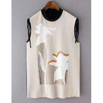 Elegant Sleeveless Stand-Up Collar Patchwork Women's Blouse - APRICOT APRICOT