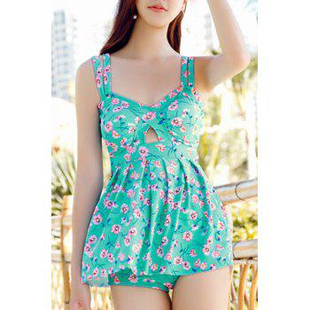 Spaghetti Strap Floral Print Hollow Out Dress