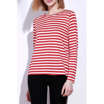 Casual Round Collar Stripes Print Long Sleeve Women's T-Shirt