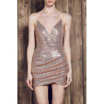 Sexy Spaghetti Strap Asymmetrical Slimming Sequined Women's Dress