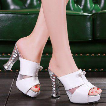 Trendy Splicing and Rhinestones Design Women's Slippers - WHITE WHITE