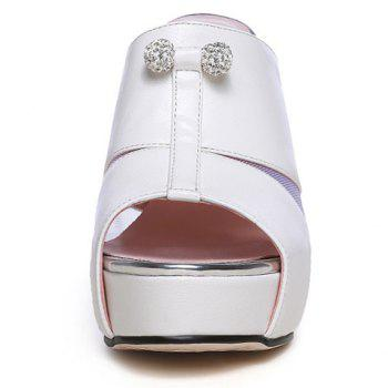 Trendy Splicing and Rhinestones Design Women's Slippers - 37 37