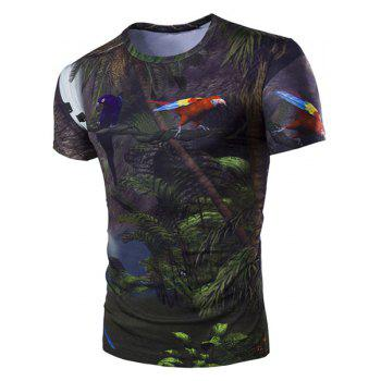 Slimming Round Collar 3D Parrot Printed Short Sleeves T-Shirt For Men