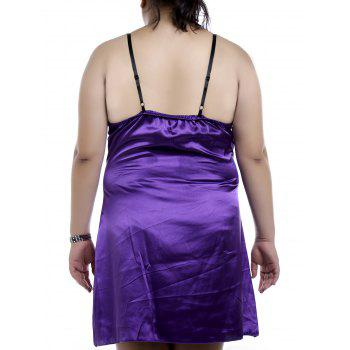 Graceful Spaghetti Strap Sleeveless Plus Size Purple Women's Loose Nightdress - PURPLE 2XL