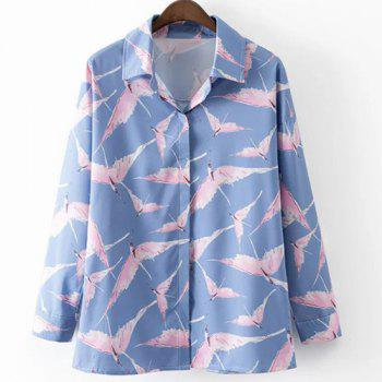 Leisure Style Shirt Collar Long Sleeve All-Over Birds Print Women's Shirt - BLUE AND PINK BLUE/PINK