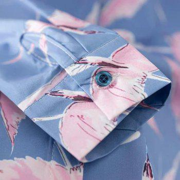 Leisure Style Shirt Collar Long Sleeve All-Over Birds Print Women's Shirt - BLUE/PINK BLUE/PINK