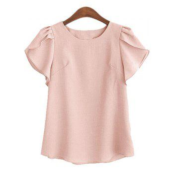 Charming Round Collar Petal Sleeve Solid Color Loose Women's Blouse - PINK PINK