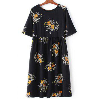 Retro Style Round Collar Short Sleeve Floral Print Loose Women's Dress