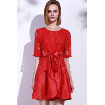 Elegant Round Neck Half Sleeve Bowknot Embellished Hollow Out Women's Dress