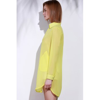 Stylish Turn-Down Collar Solid Color Loose-Fitting Long Sleeve Women's Dress - M M