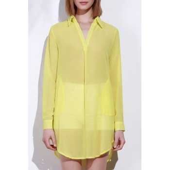 Stylish Turn-Down Collar Solid Color Loose-Fitting Long Sleeve Women's Dress