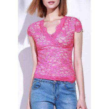 Stylish Short Sleeve Plunging Neck Lace Women's T-Shirt