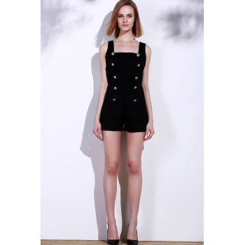Sexy Square Neck Solid Color Button Embellished Sleeveless Women's Romper - BLACK ONE SIZE(FIT SIZE XS TO M)