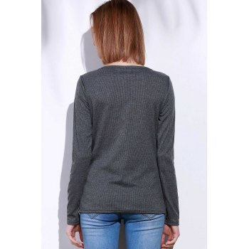 Casual V-Neck Long Sleeve Pure Color Women's T-Shirt - GRAY S
