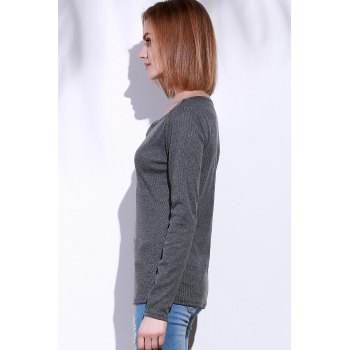 Casual V-Neck Long Sleeve Pure Color Women's T-Shirt - GRAY L